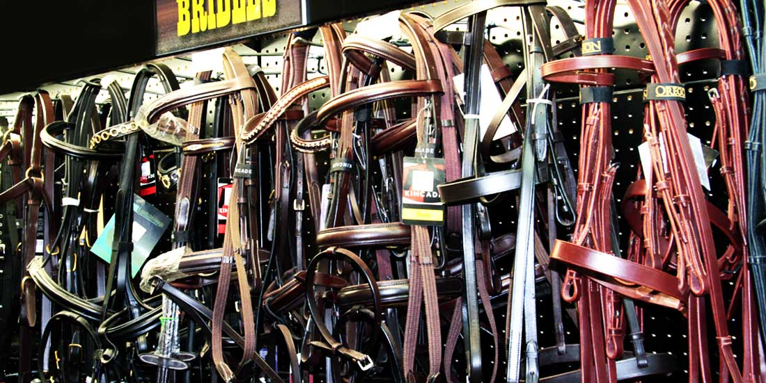 store disply of horse bridles